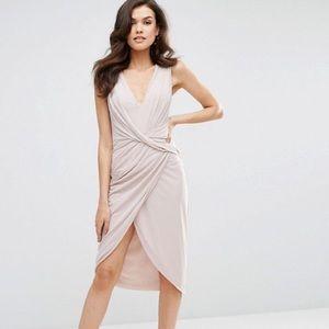 ASOS Mesh Fold Front Midi Pencil Dress Dusty Pink
